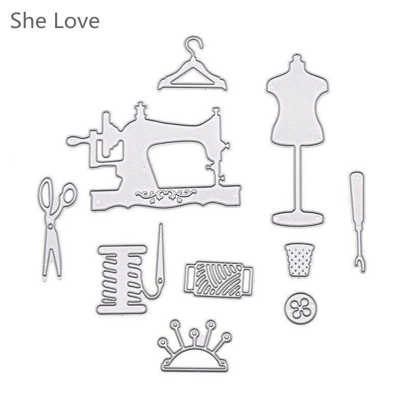 She Love Sewing Machine Series Set Metal Cutting Dies DIY Scrapbook Album Paper Card Embossing Diary Craft Stencil