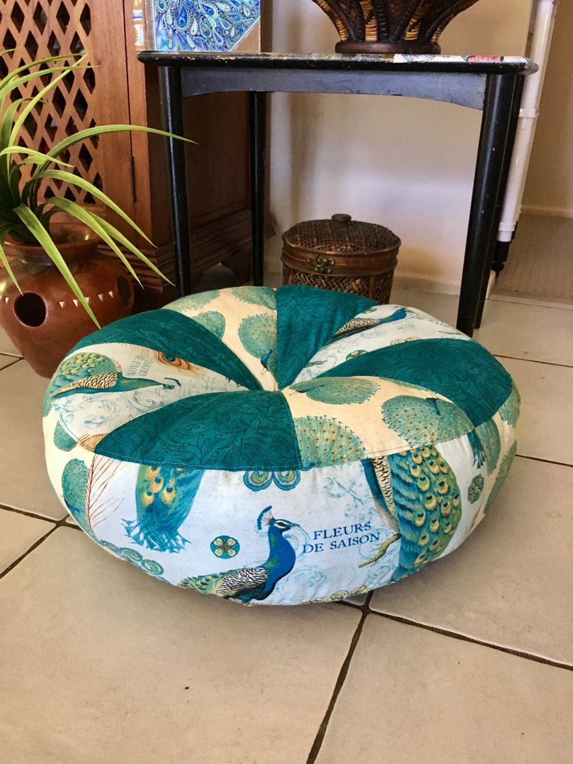 Choose your Size Unfilled Peacock Pouffe Cover