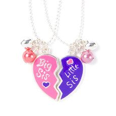 Little Sister Big Sister Heart Pendant Necklaces