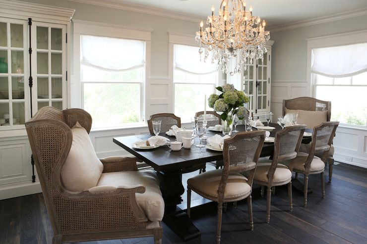 Chandelier, trestle table, French cane back side chairs ...