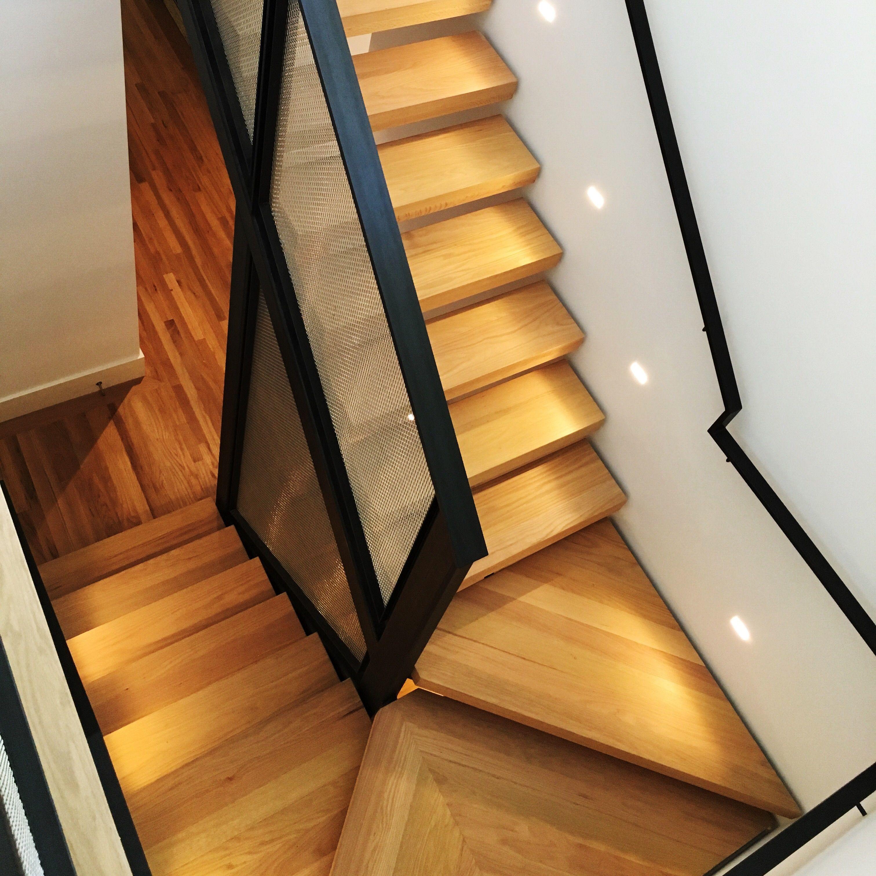 Artisan Apartments Austin: Red Oak Hardwood Custom Stairs. Modern, Metal, Wood