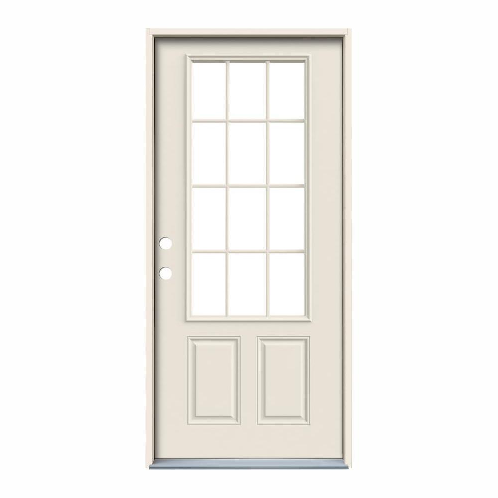 Jeld Wen 32 In X 80 In 12 Lite Primed Steel Prehung Right Hand Inswing Back Door Thdjw190900024 In 2020 Steel Doors Back Doors Primed Doors
