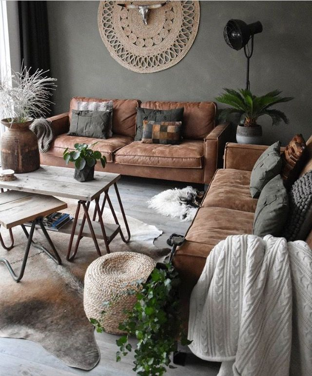 Earthy\ - Brown Couch Living Room