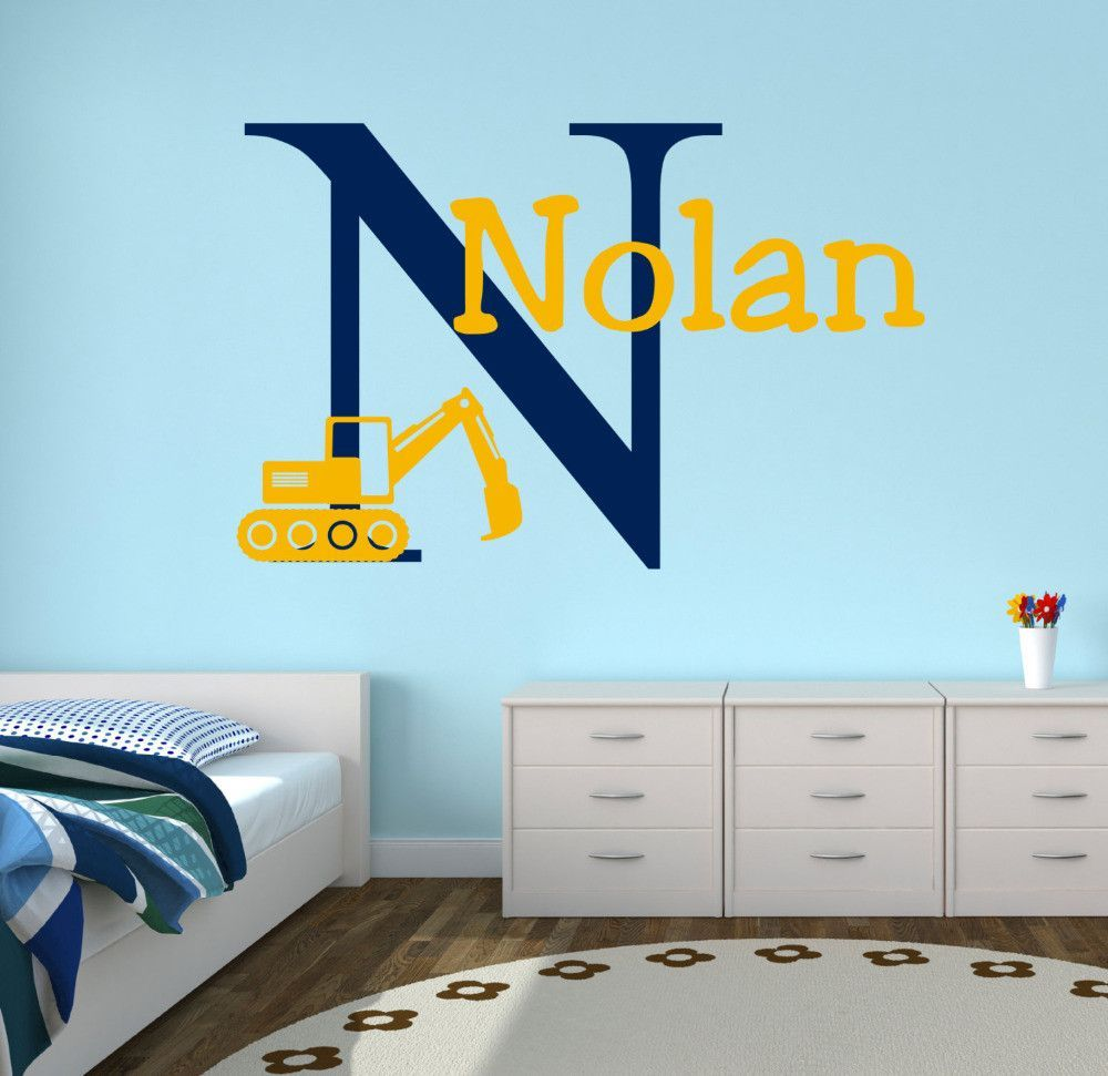 Personalized Truck Name Wall Decal Custom Name Construction Kids - Monogram wall decal for kids