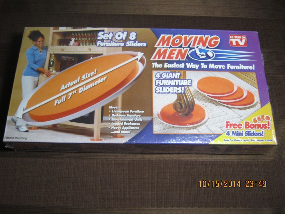 NEW Moving Men Set Of 8 Furniture Sliders As Seen On TV Easy Move Disc  #telebrands