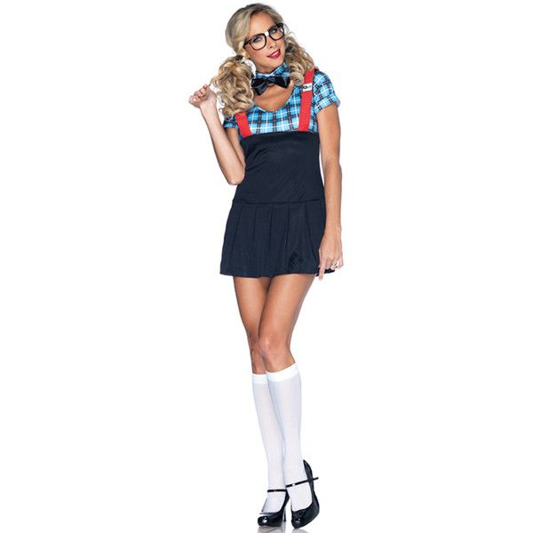 4 pc naughty nerd school girl costume 52 liked on polyvore featuring costumes - Naughty Librarian Halloween Costume