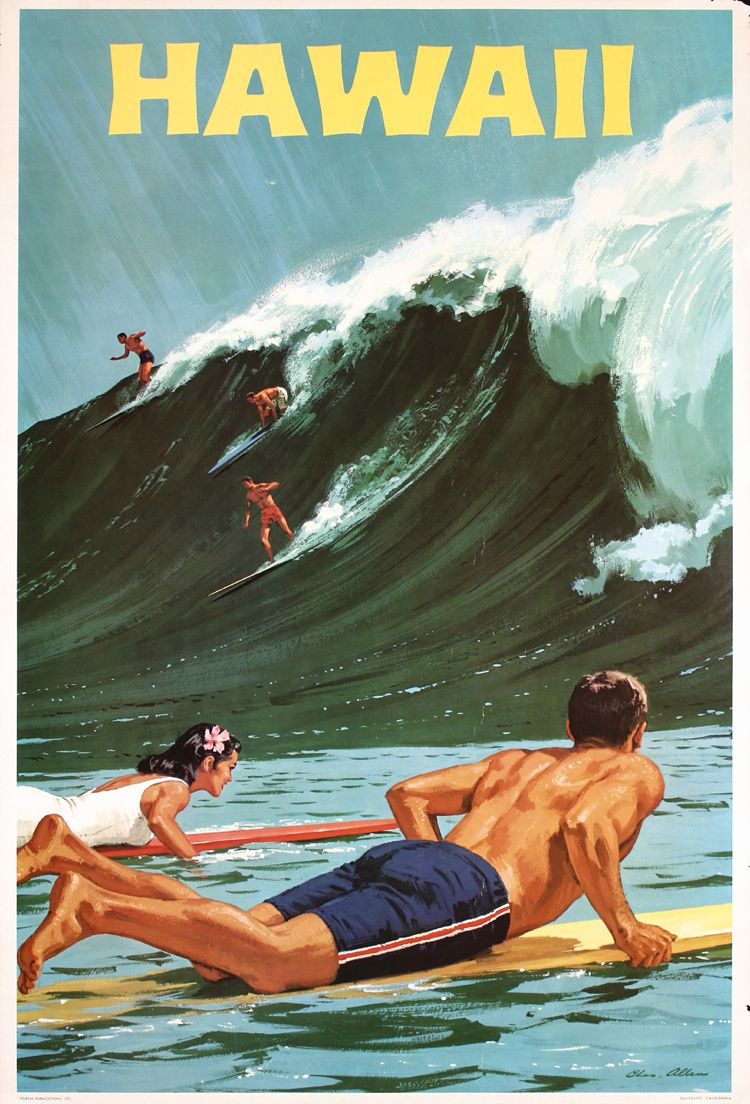 Stunning Old Original 1960 Hawaii Surfing Travel Poster Surf Poster Vintage Poster Design Vintage Surf