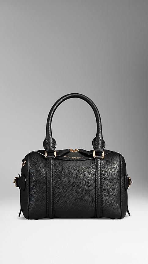 987776b819d9 Black The Mini Bee in Grainy Leather from Burberry - A mini bowling bag in grainy  leather. The bag features a double-layered construction with concealed ...
