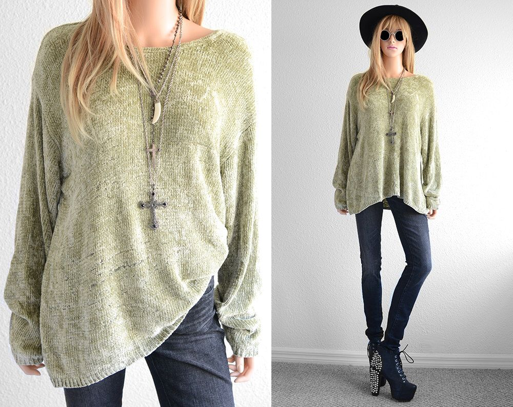 Sage Chenille Sweater Distressed Oversized Sweater Womens Sweaters ...