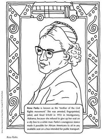 Rosa Parks Coloring Pages Black History Month Crafts Black