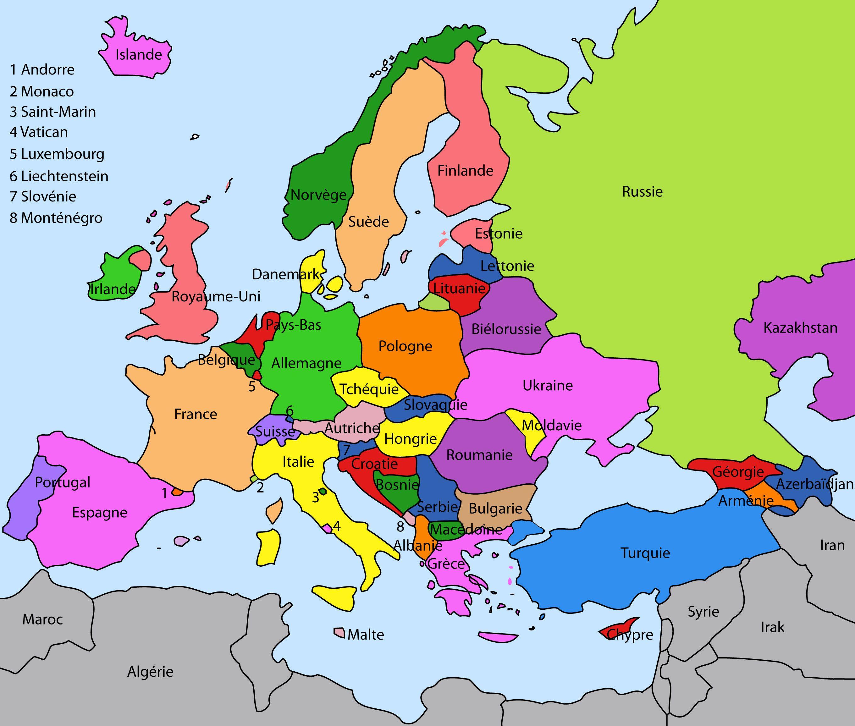 Carte europe détaillée