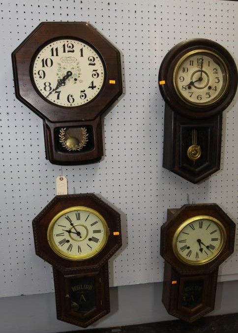 Four Regulator Style Wall Clocks Incl Quot New England Clock