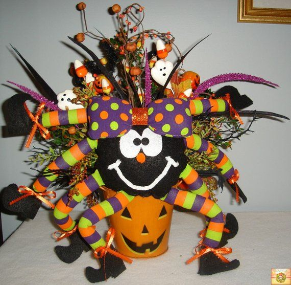 Halloween Centerpiece, Spider Centerpiece, Halloween Decor, Holiday - halloween centerpiece