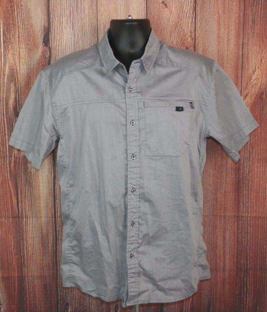 ffcff90c7 Arcteryx Men s Button Front Short Sleeve Shirt Size Large Silver  Arcteryx   ButtonFront