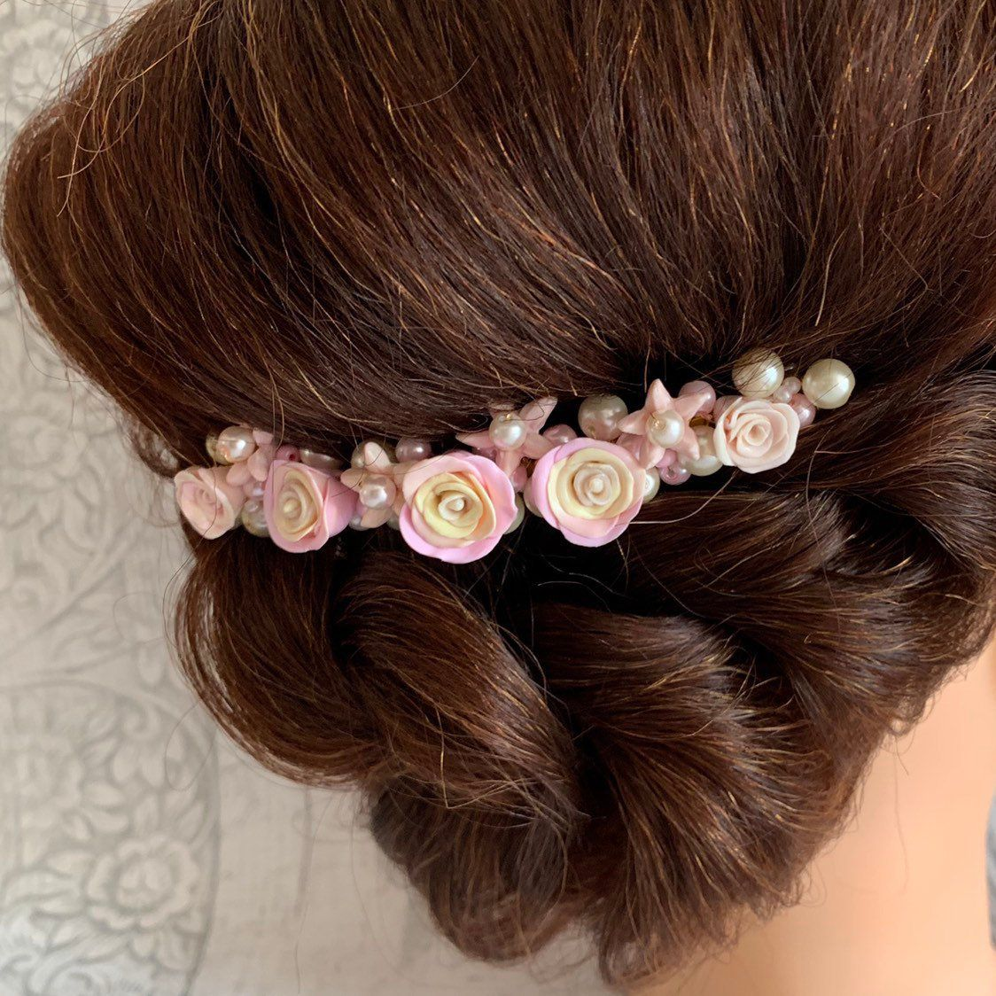decorative bridal hair accessory, handmade polymer clay pink