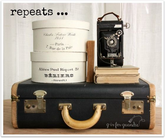 vintage suitcase with faux vintage hatboxes | q is for quandie ...