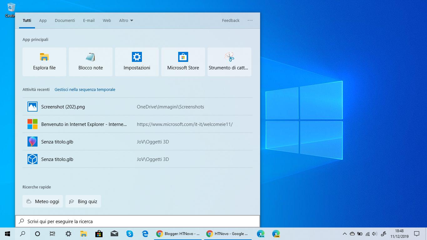 Funzionalità 'Ricerche rapide' disponibile in Windows 10