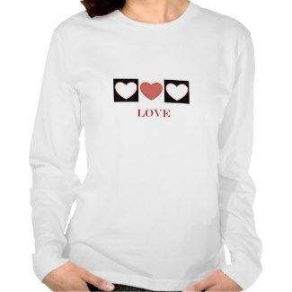 3 hearts in black and white blocks with love tee shirts #love #hearts #blackandwhite #t-shirt