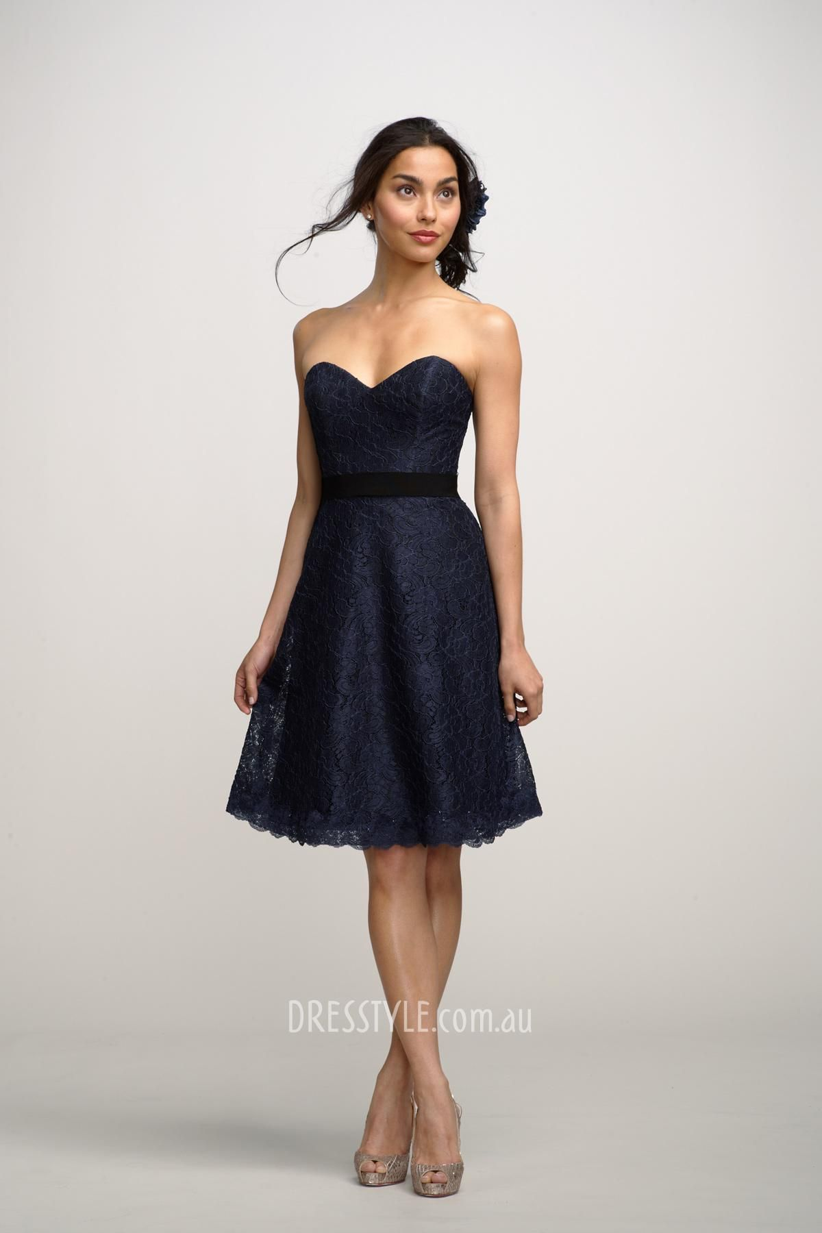 navy blue lace strapless sweetheart a-line above knee length ...