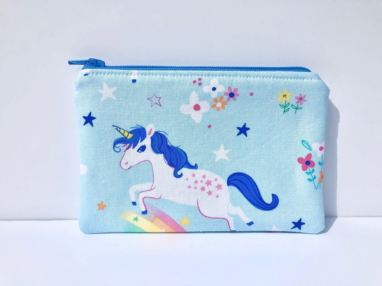 unicorn zipper pouch kids blue coin purse small unicorn purse Kids unicorn coin purse blue unicorn coin purse small unicorn coin pouch