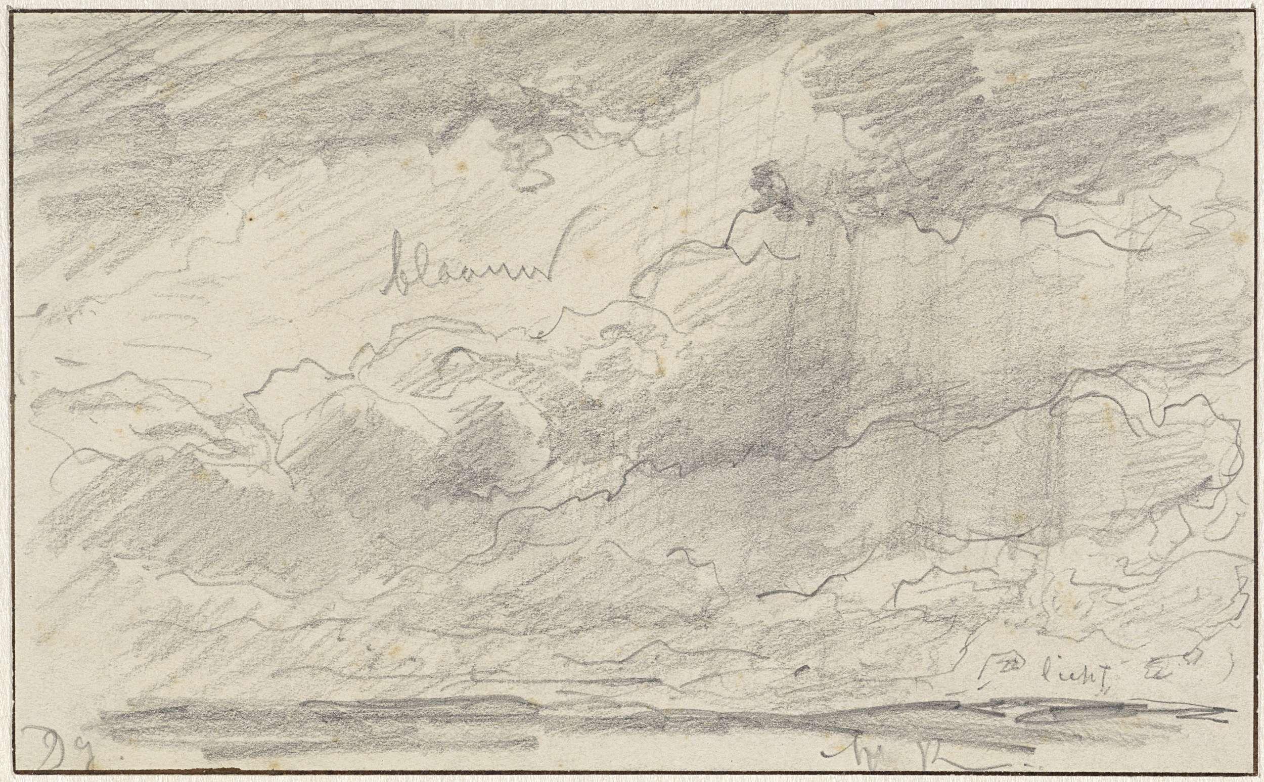 Willem Roelofs (I) | Studie van een wolkenlucht, Willem Roelofs (I), 1832 - 1897 | Studie van een wolkenlucht, met kleuraanduidingen.