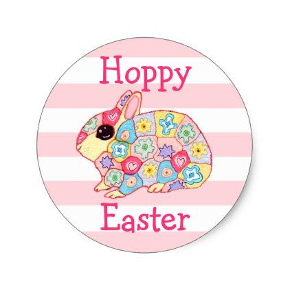 Cute floral bunny rabbit pink stripes hoppy easter classic round sticker flower gifts