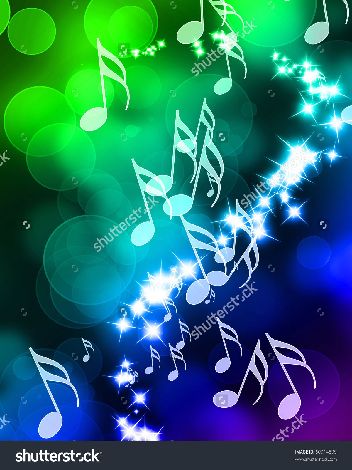 Colorful Music Notes On A Beautiful Rainbow Background Stock Photo