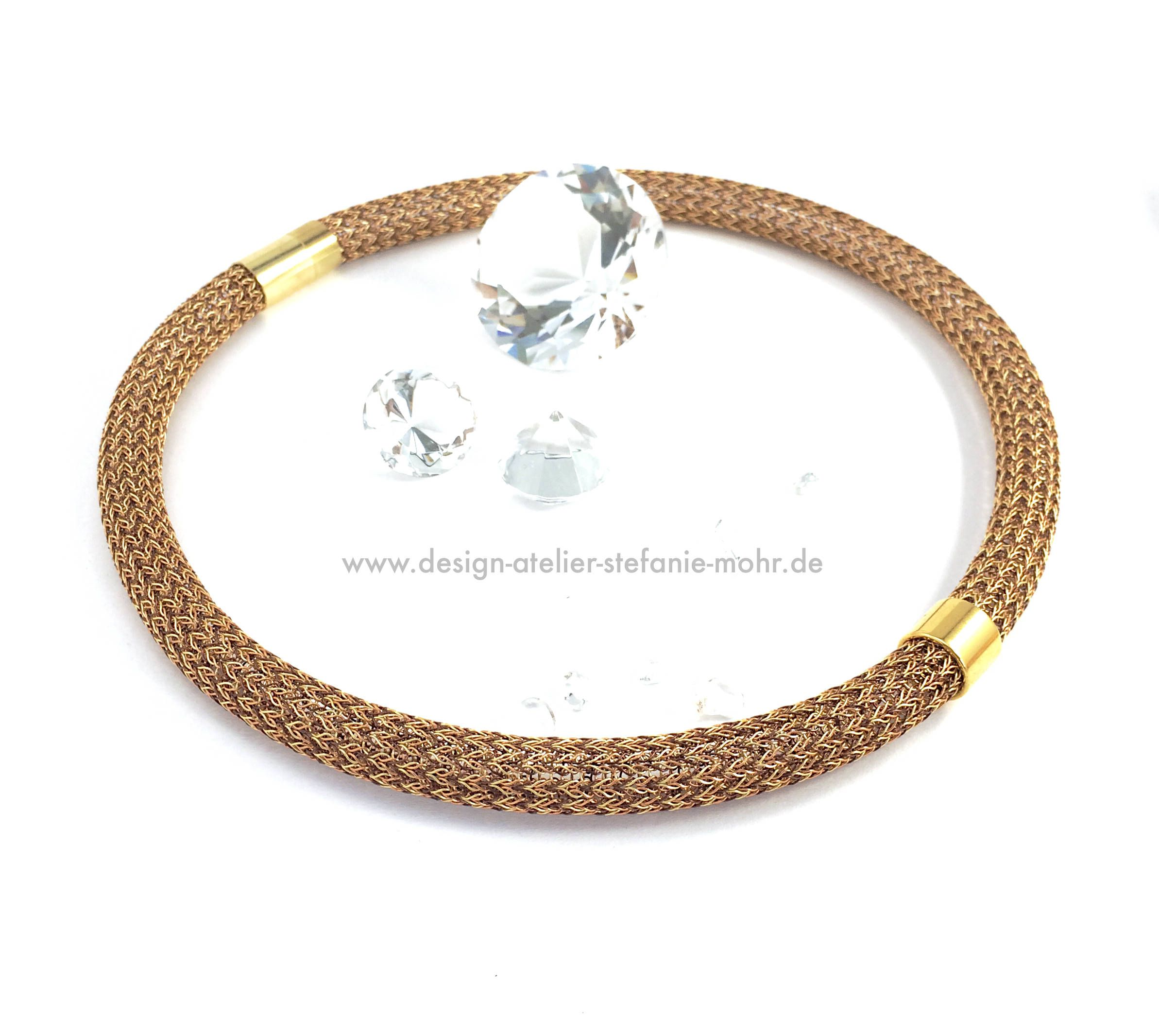 Hand made tricolour double wire crochet necklace in brown/copper ...