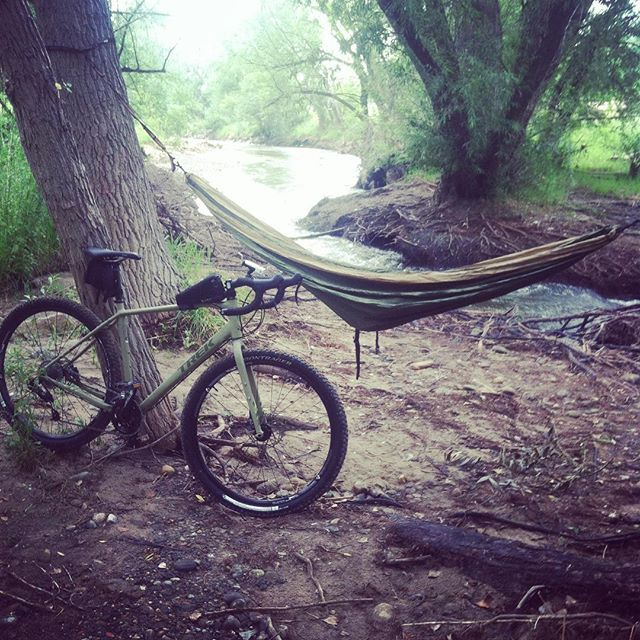 Good afternoon. Time for a ride to the creek for a safety meeting. #hammock #eno #hammocklife #woods #creek #mountainbike #kinda #trek #trek920 #johnnysadventures by johnnyberger420