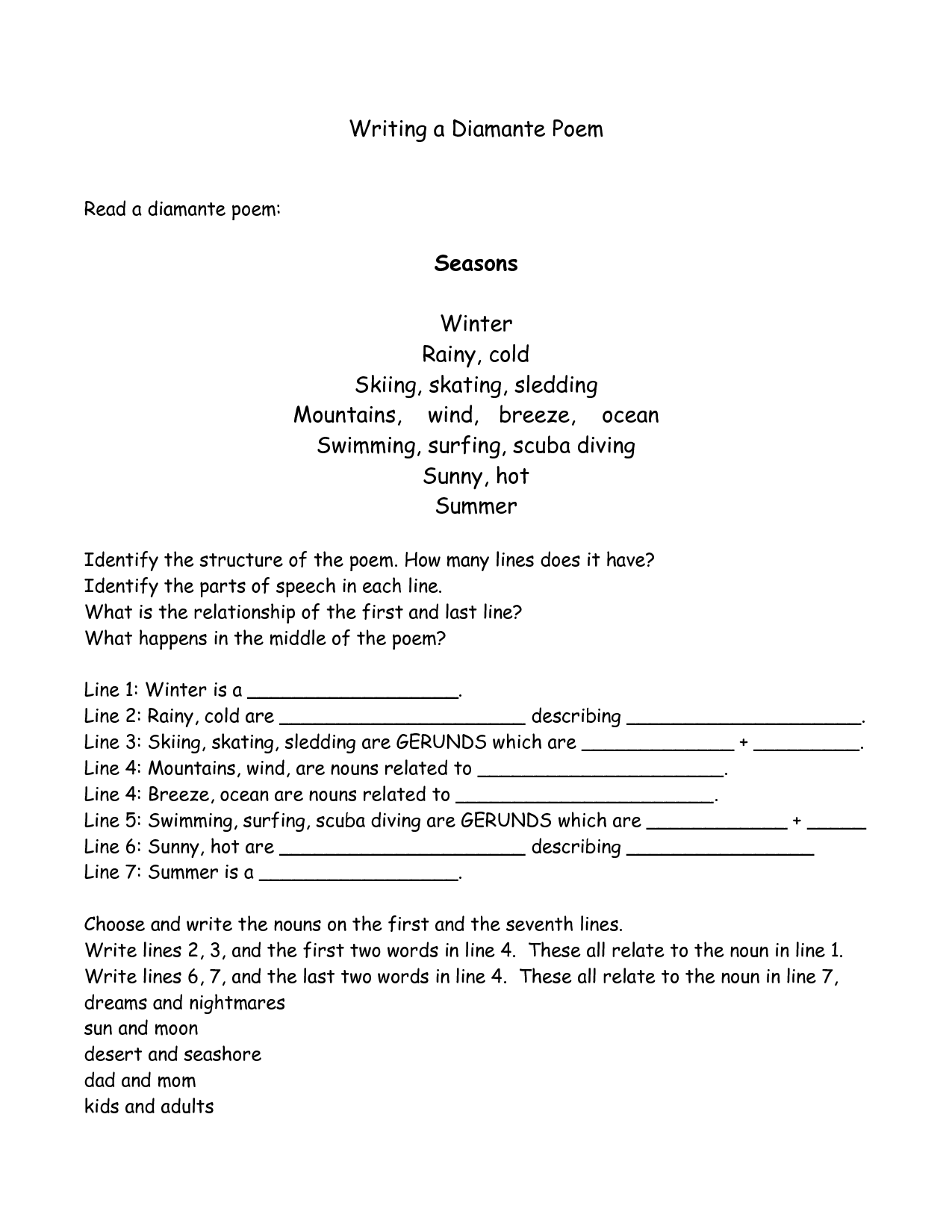 Writing A Diamante Poem Poem Template Teaching Writing Writing