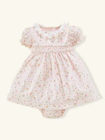 ee2c6c7d1 Smocked Floral Cotton Dress - Dresses   Rompers Layette Girl (Newborn–9M) -  RalphLauren.com