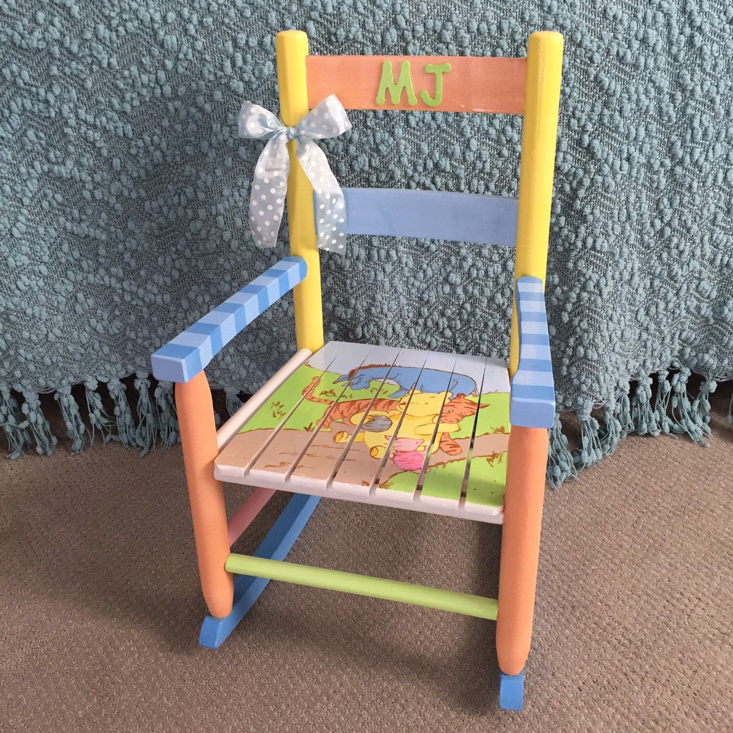 Classic Winnie the Pooh Themed Rocking Chair Hand painted Kids