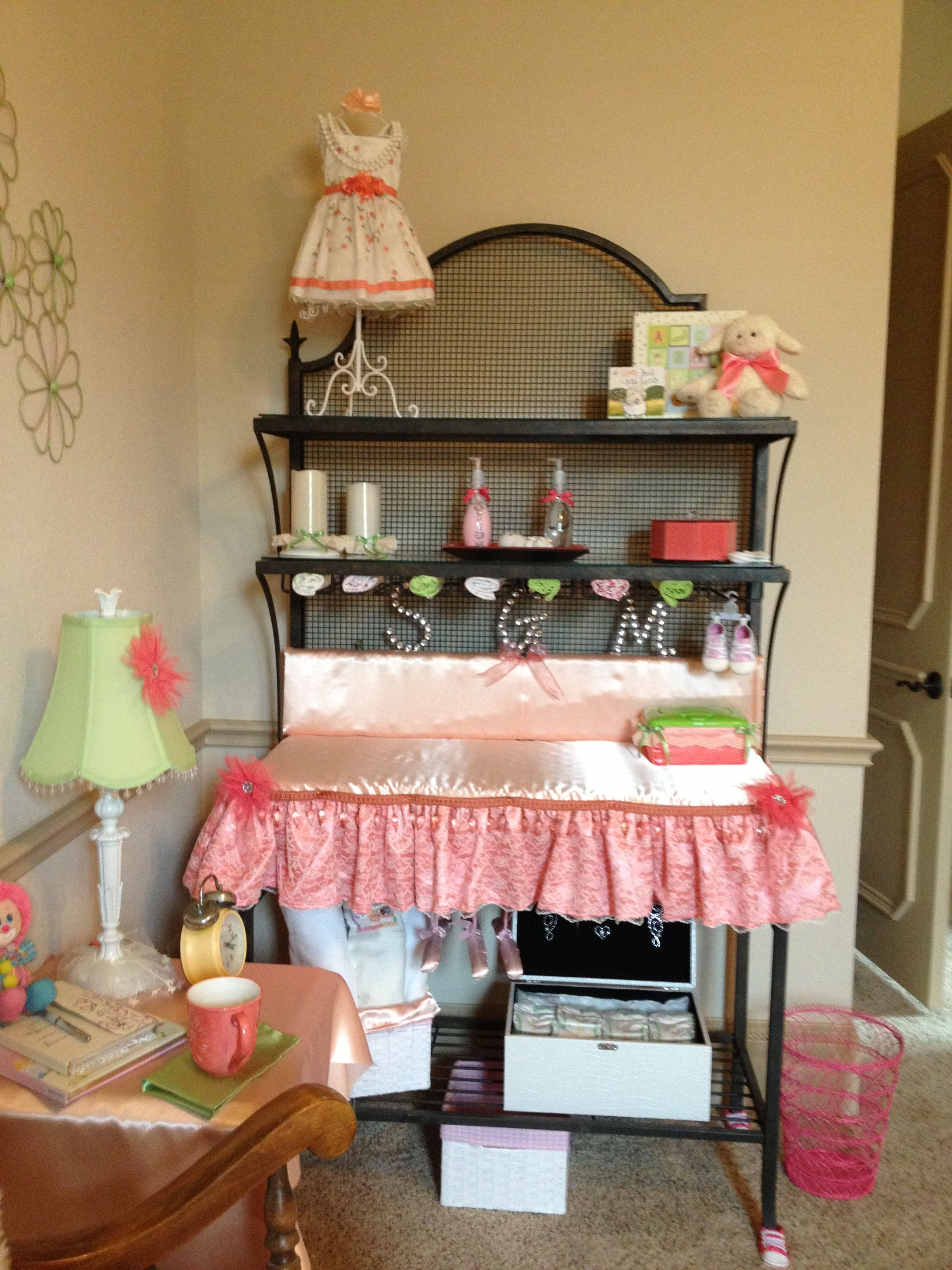 Bakers Rack Turned Baby Changing Table Came Up With This Idea When