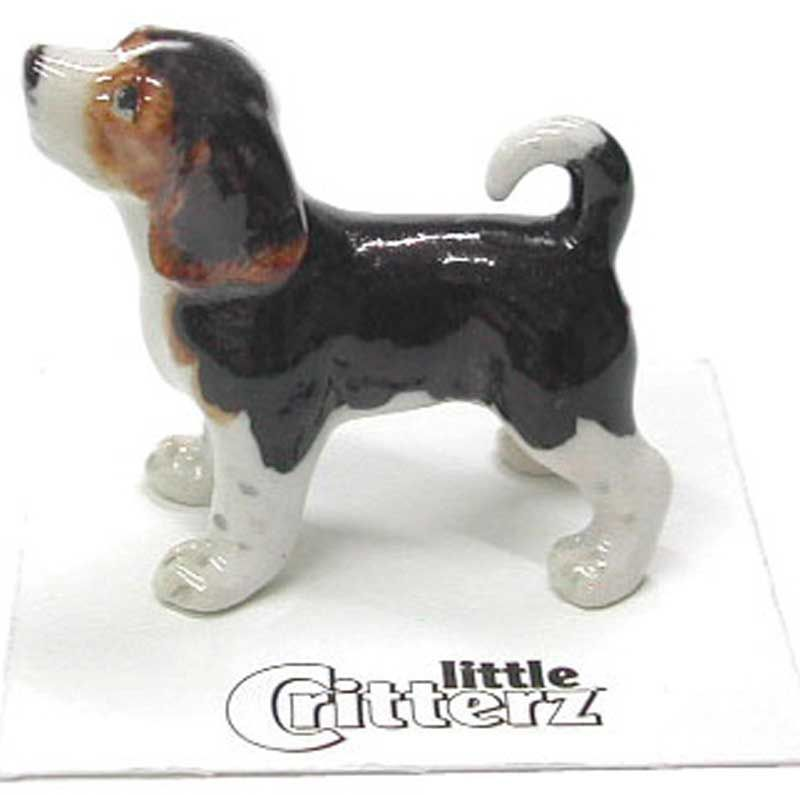 Beagle Hand Painted Porcelain Miniature Figurine Blue Tick