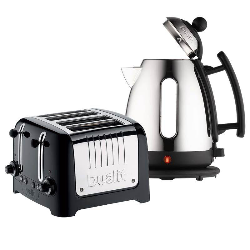 dualit 4 slot toaster cordless kettle set black. Black Bedroom Furniture Sets. Home Design Ideas