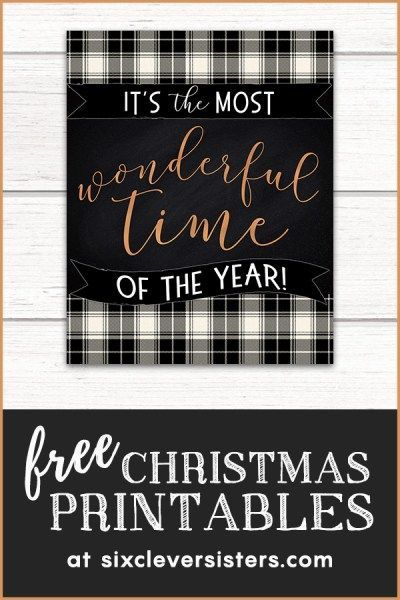 Free Christmas Printables Buffalo Plaid Check is part of Christmas printables, Free christmas printables, Free christmas, Buffalo check christmas decor, Plaid christmas, Buffalo plaid christmas - FREE Christmas Printables BUFFALO PLAID black and white  6 new designs! Easy to download and print for easily adding festivity to your home!