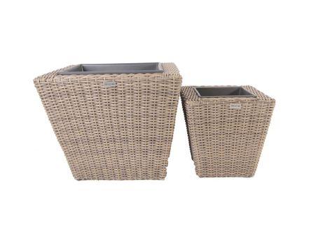 2 Piece Square Resin Wicker Planter with Plastic Inlays - CS502