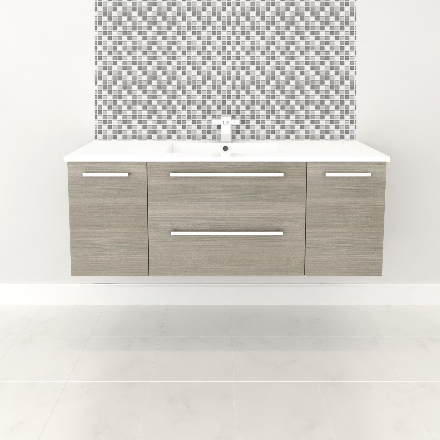 Floating bathroom vanities - Cutler Kitchen Bath Silhouette 48 Single Bathroom Floating Vanity Set