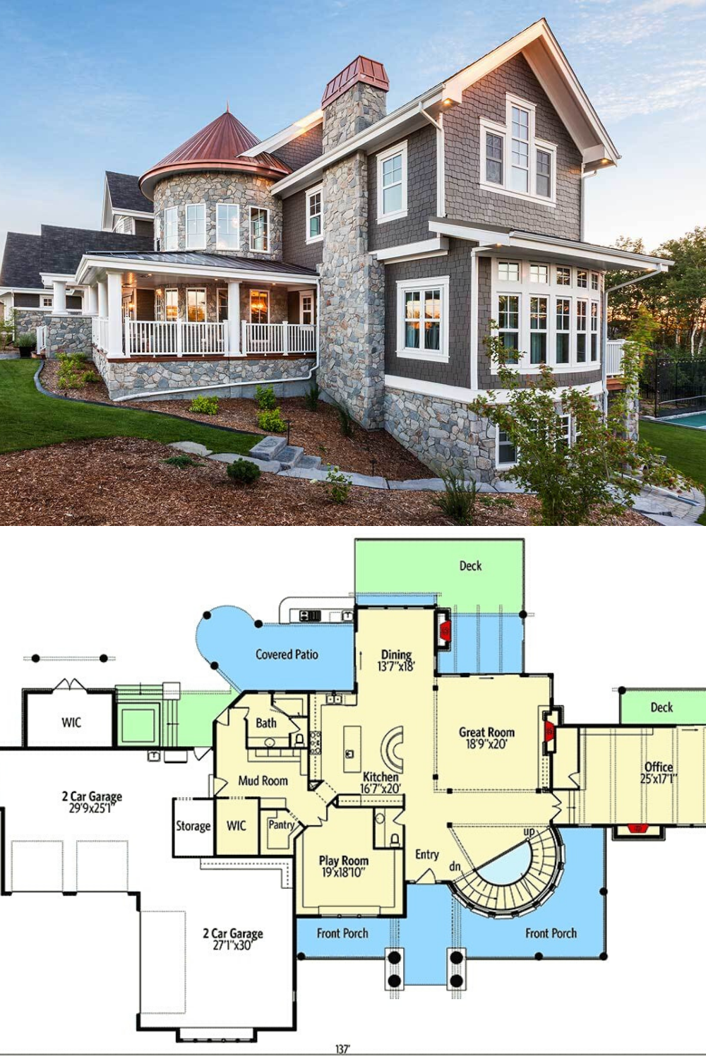 4 Bedroom Two Story Grand Shingle Style Home Floor Plan Shingle Style Homes Shingle Style House Floor Plans