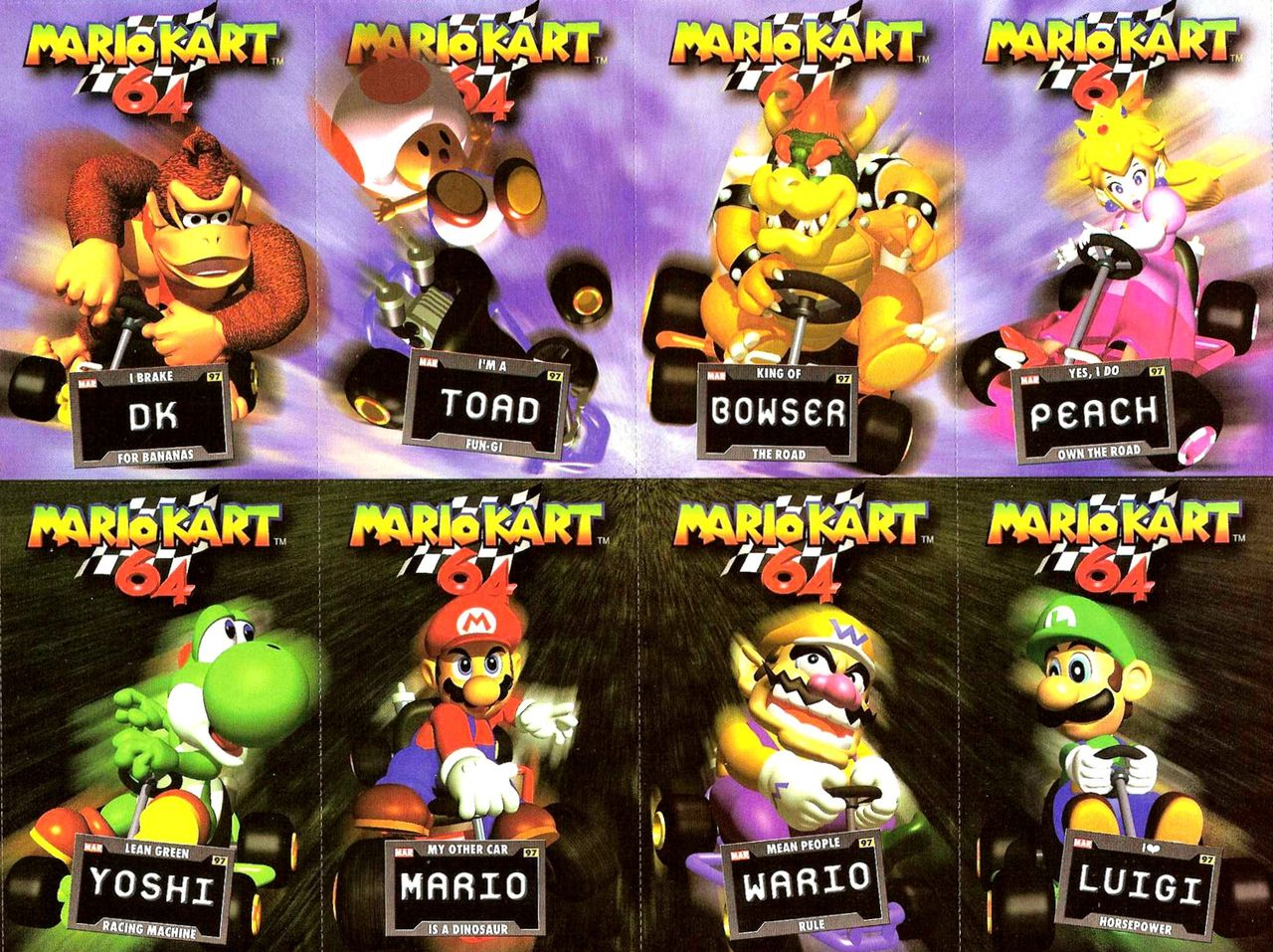Mario Kart 64 Cards From Nintendo Power Mario Kart 64 Mario