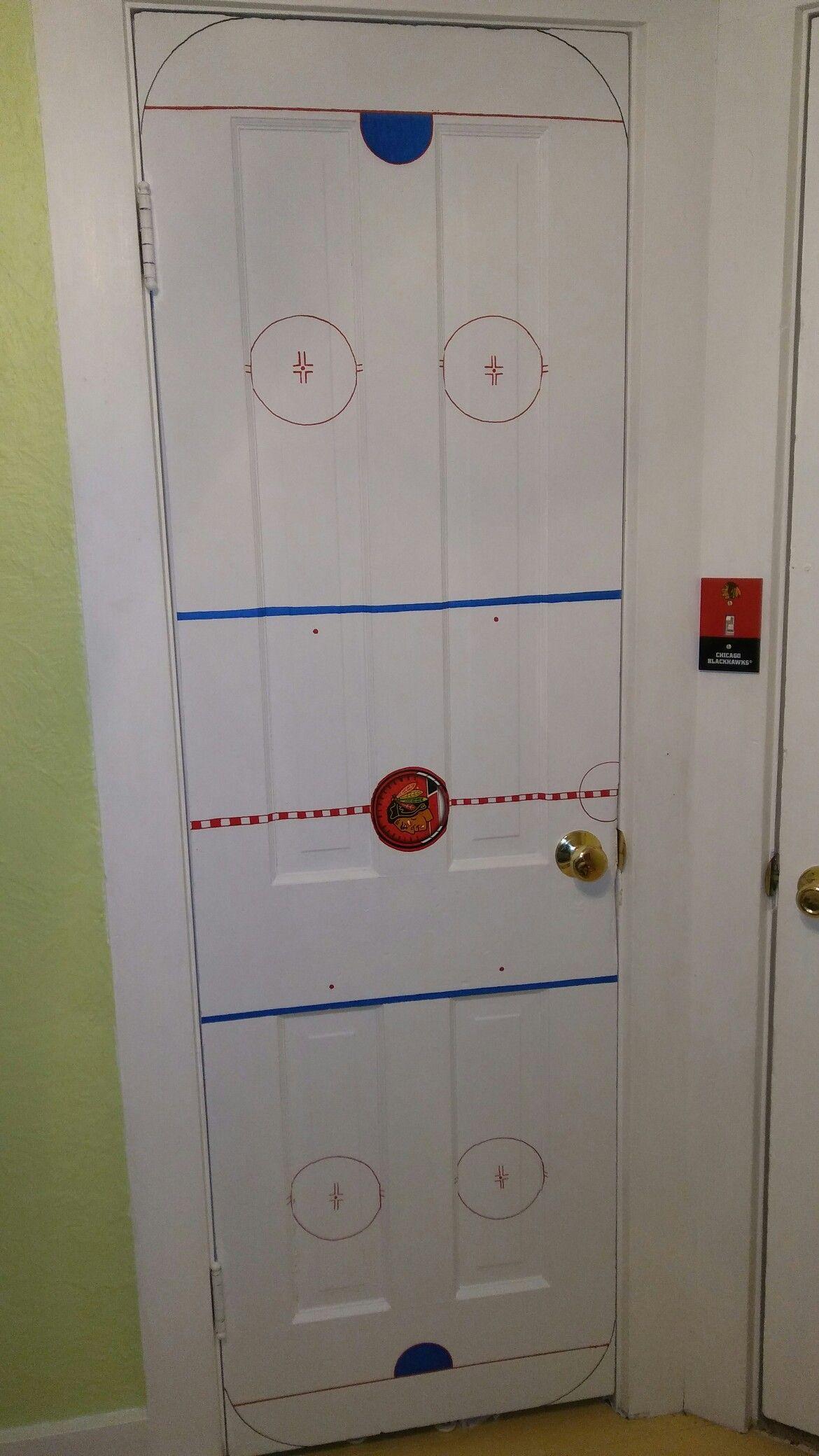 Hockey Bedroom Decor Canada: Chicago Blackhawks Hockey Rink Door!