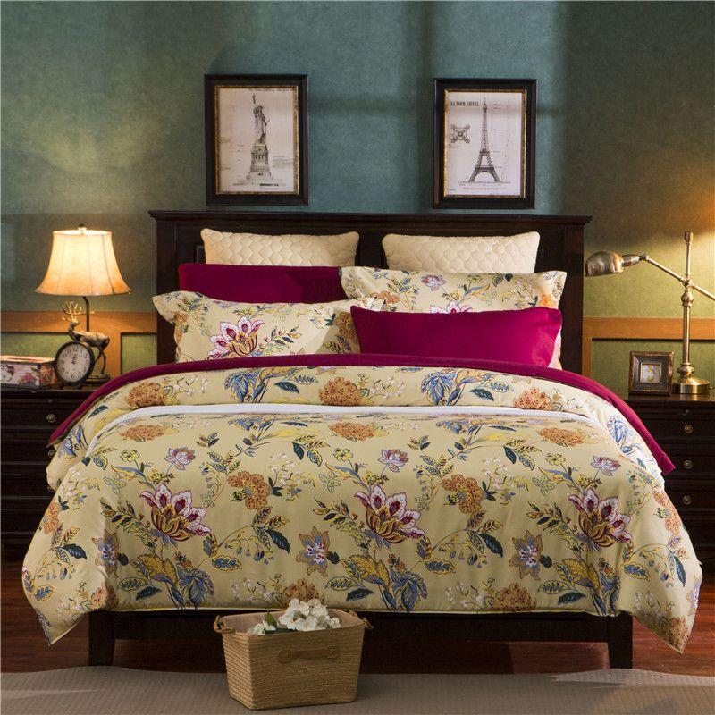 American Style Reactive Printing Bedding Set duvet cover set queen