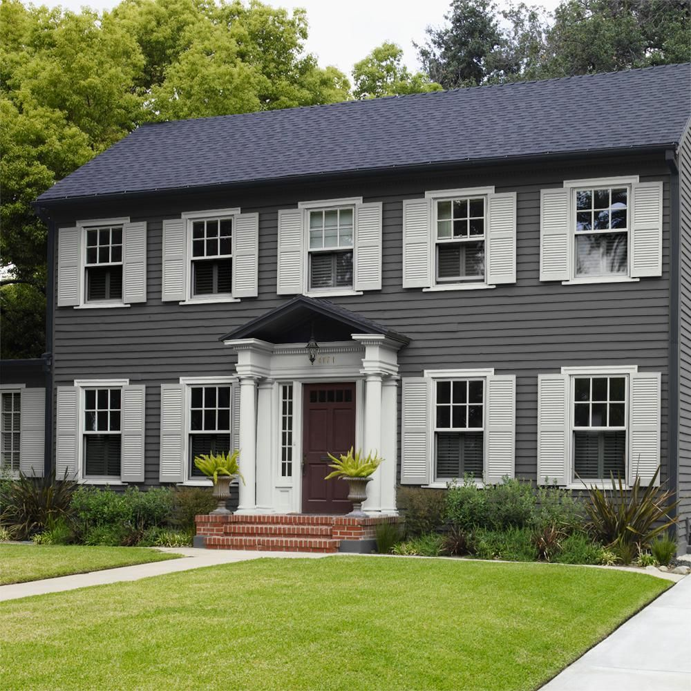 behr premium plus 1 gal qe 62 maximum gray satin enamel on home depot paint colors exterior id=69502