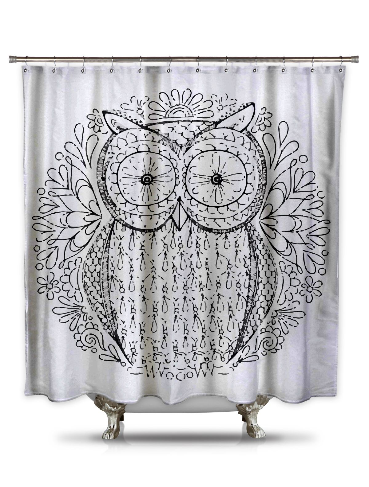 Black And White Owl Shower Curtain Adult Coloring Book Series
