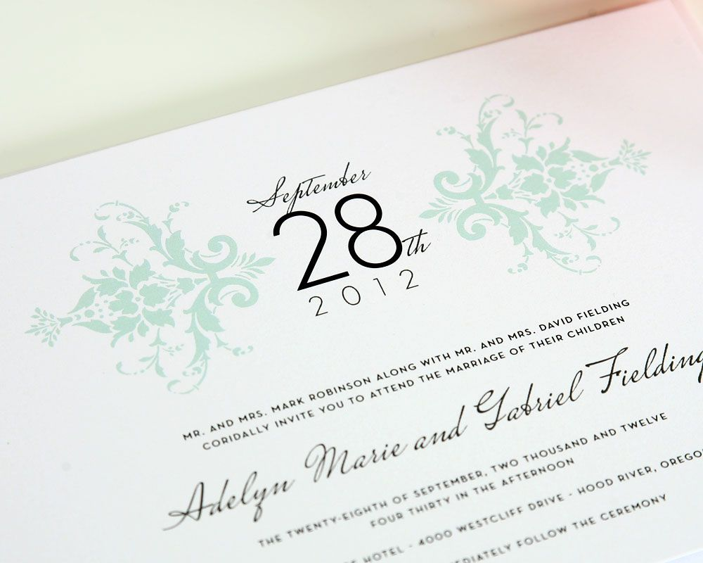 Elegant Damask Wedding Invitations | Mint green weddings, Green ...