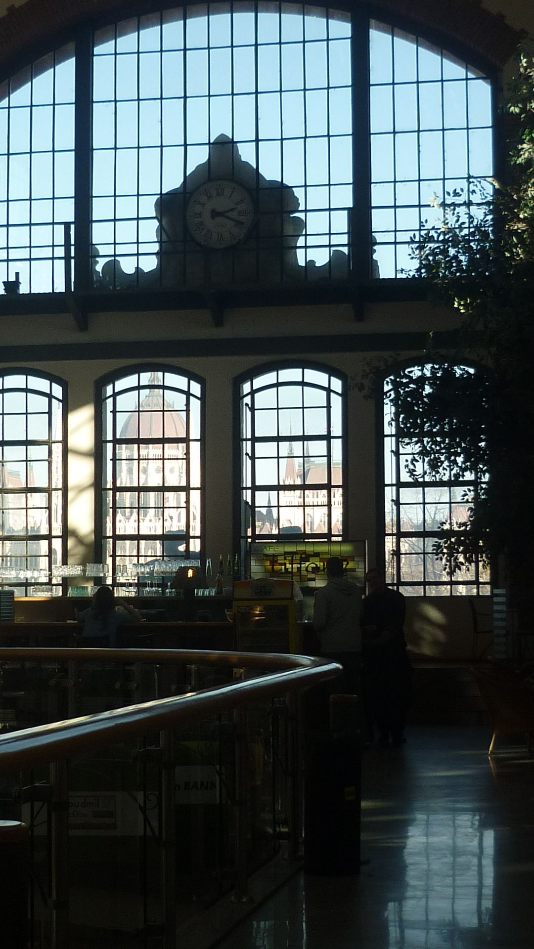 Budapest  Market Hall upstairs interior at Batthyány Square  hidden, non busy café with splendid view directly to the bank of Danube and the Parliament on the other side!!! My personal tip for romantics at Budapest.