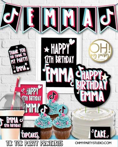 Tik Tok Party Decorations Party Printables Birthday Party Birthday Party Decorations