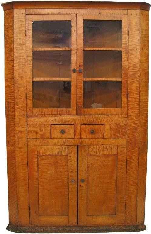 Antique Tiger Maple Corner Cupboard....~♥~ - Antique Tiger Maple Corner Cupboard....~♥~ #2 Primitive Country
