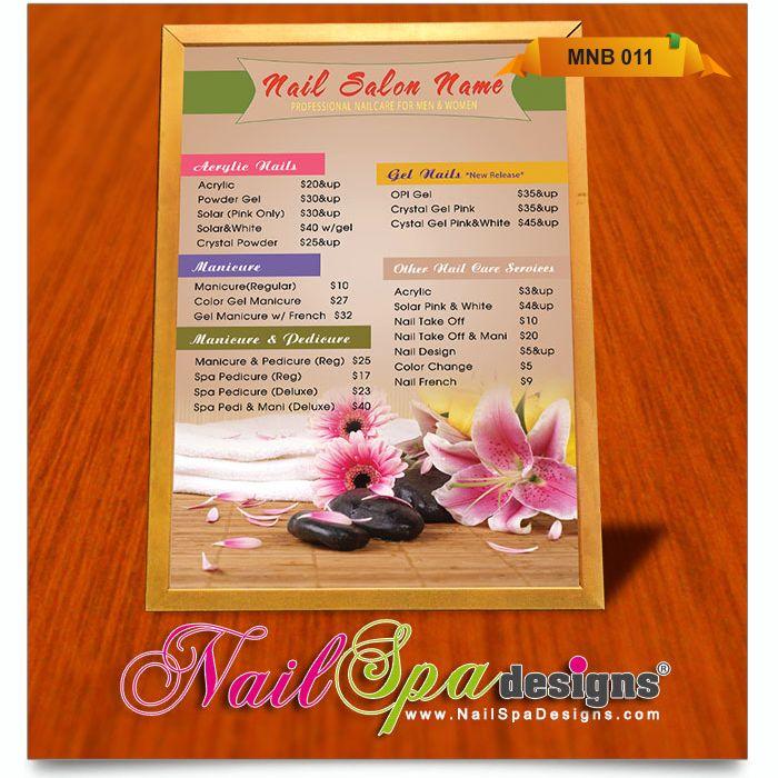 Menu Board template for Nail Salon. Visit www.NailSpaDesigns.com ...