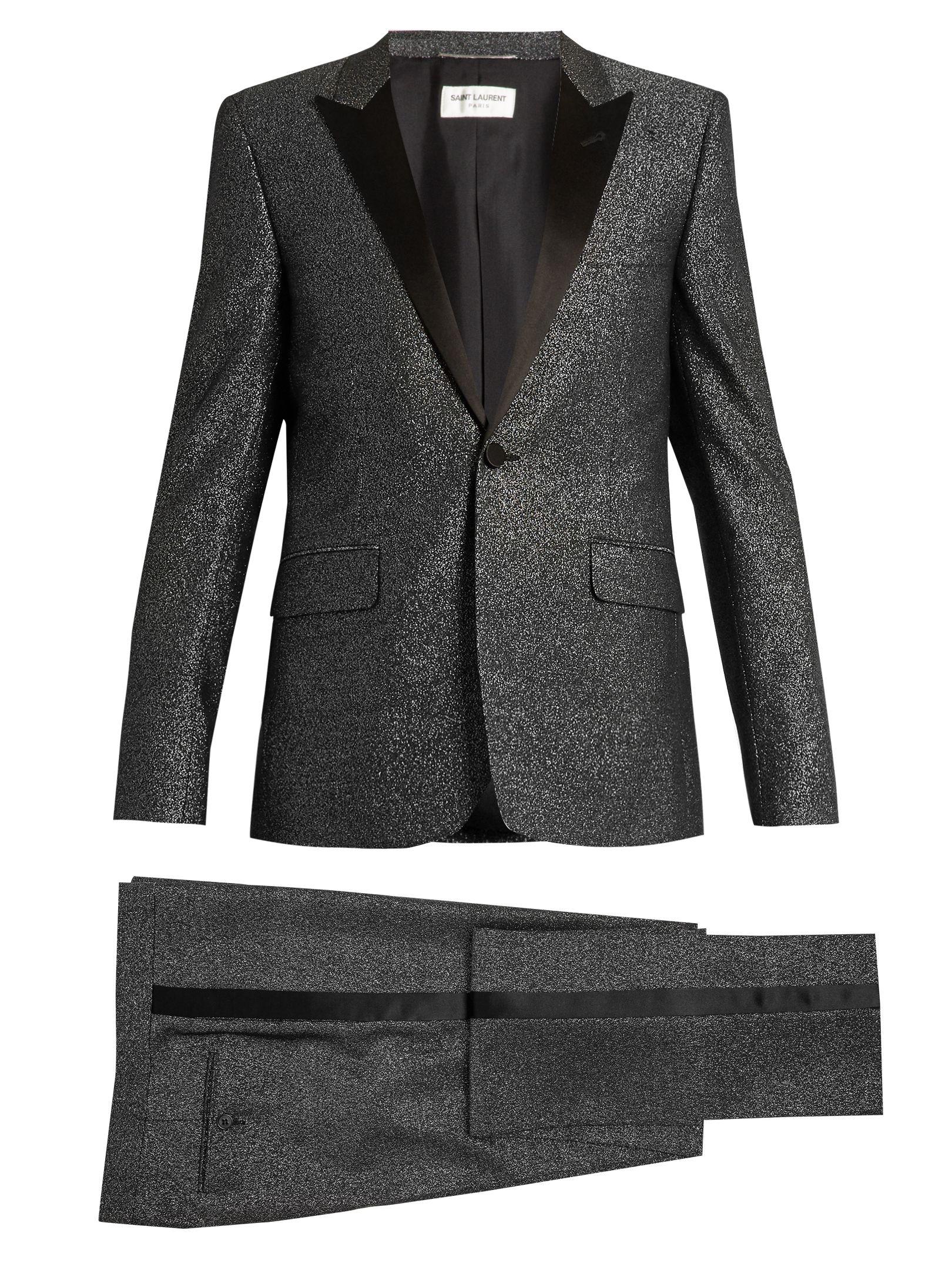 34a6b0ce7d7 Click here to buy Saint Laurent Sparkle satin-lapel wool-blend tuxedo at  MATCHESFASHION.COM